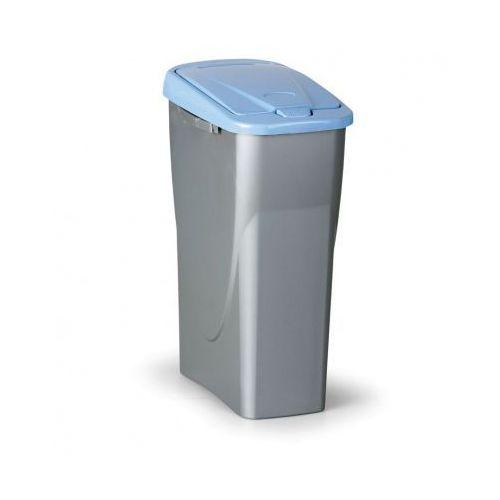 Kosz na odpadki (sz x gł x wys): 25 x 42x 62cm, 40l, niebieskie wieko, kolor srebrny