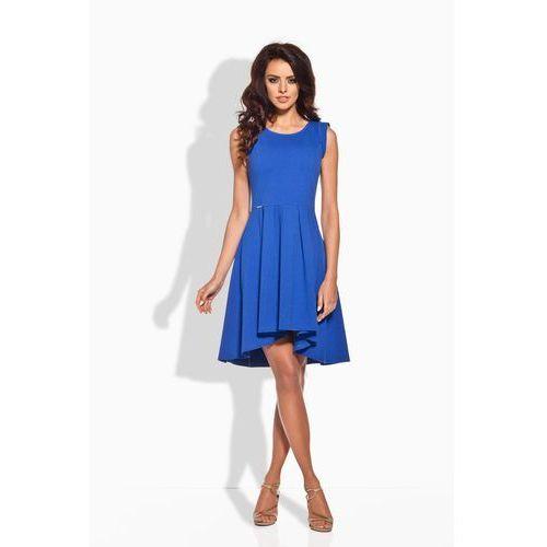 Rozkloszowana Asymetryczna Chabrowa Sukienka, kolor niebieski