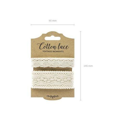 Zestaw koronek bawełnianych kremowych - 2 wzory marki Ap
