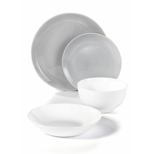 Bonprix Komplet naczyń stołowych ze szkła opalowego (16 części) jasnoszaro-biały