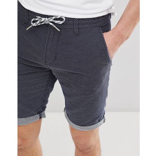 Tom tailor slim fit drawstring chino shorts in geo print - blue