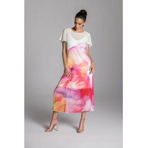 Długa letnia sukienka trapezowa kolorowa z szyfonu z krótkim rękawem typu motylek – KOLEKCJA CZERWONE KWIATY, 76FC-241E6
