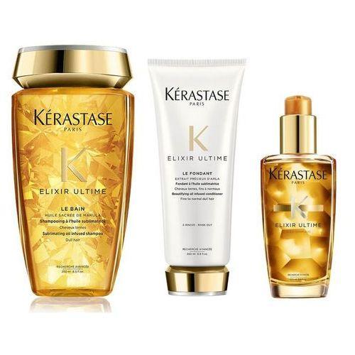 elixir ultime | zestaw pielęgnujący do wszystkich rodzajów włosów: kąpiel 250ml + odżywka 200ml + olejek 100ml marki Kerastase