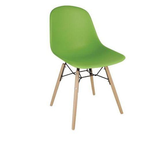 Bolero Krzesła polipropylenowe | zielone | drewniane nogi | 2 szt.