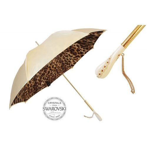 Parasol creamy-white leopard print, podwójny materiał, 189 52417-11 z5 marki Pasotti
