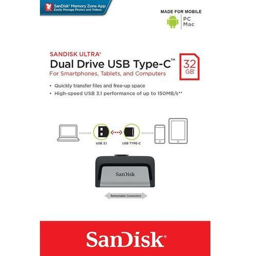 pamięć ultra dual drive 32gb usb 3.1 type-c 150mb/s marki Sandisk