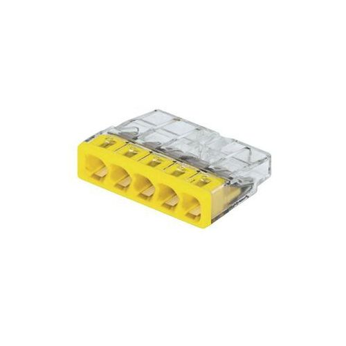 Złącze do puszki podtynkowej 2273-205/VE00-100 Ilość PIN: 5 WAGO 2273-205 20 szt. Przezroczysty, Żółty, 2273-205/0996-0020