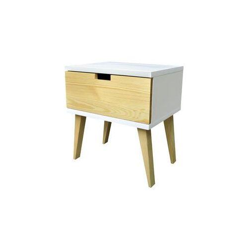 Nowoczesna szafka nocna drewniana SAVONA z szufladą w kolorze sosny