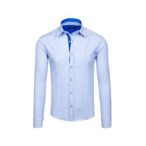 Błękitna koszula męska we wzory z długim rękawem 6887, Bolf