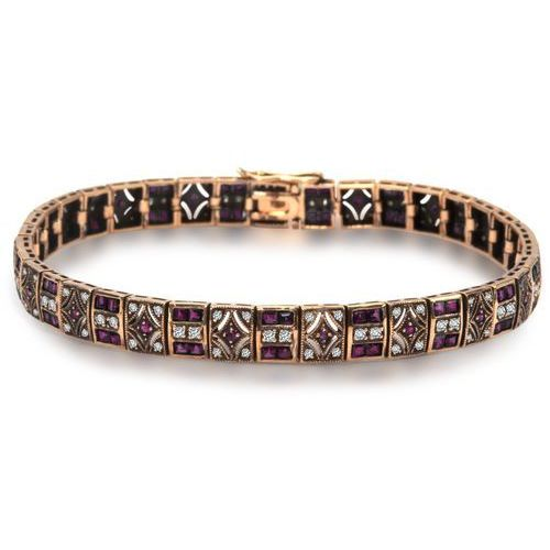 Biżuteria yes Kolekcja wiktoriańska -złota bransoletka z diamentami i rubinami