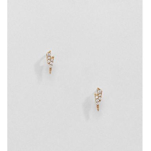 Kingsley ryan gold plated lightening bolt stud earrings with gem - gold