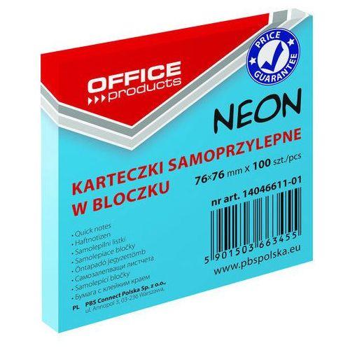 Bloczek samop., 76x76mm, 1x100 kart., neon, niebieski