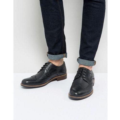 smart brogues in black leather - black marki Silver street