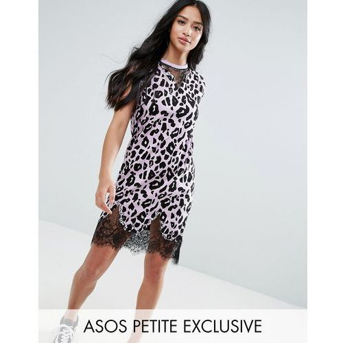 sleeveless t-shirt dress with lace inserts in leopard print - pink marki Asos petite