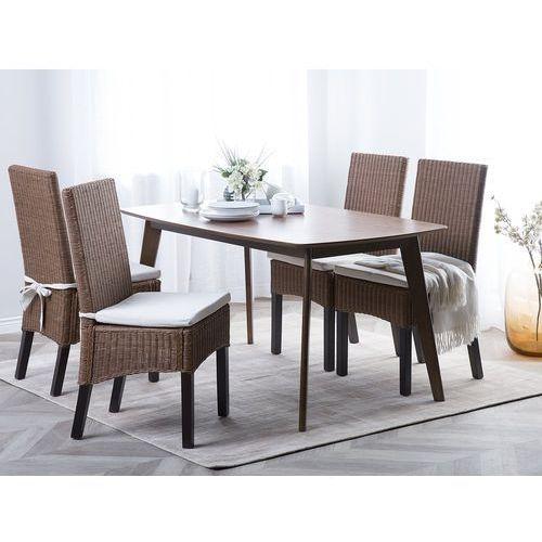 Zestaw 2 krzeseł rattanowych jasnobrązowe ANDES, kolor biały
