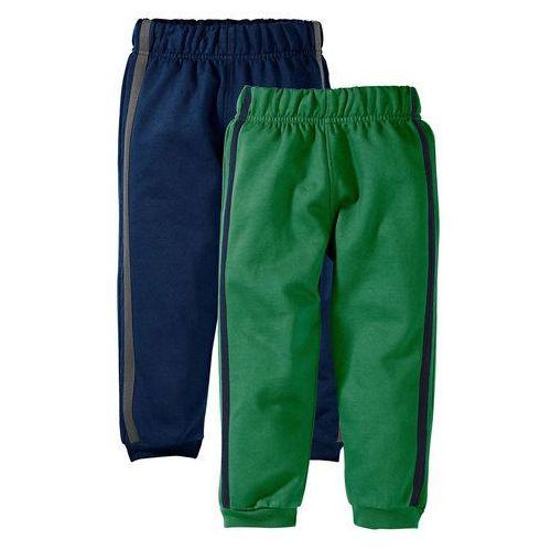 Spodnie dresowe (2 pary) bonprix ciemnoniebieski + zielony, kolor niebieski