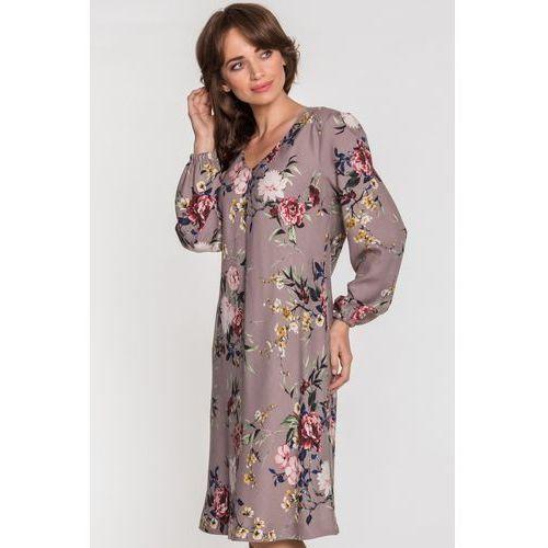 Beżowa sukienka w kwiaty - SU, kolor beżowy