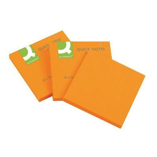 Bloczki samoprzylepne Q-CONNECT Brilliant, 76x76mm, 75 kart., pomarańczowe
