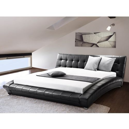 Nowoczesne skórzane łóżko 160x200 cm - LILLE (7081456931080)