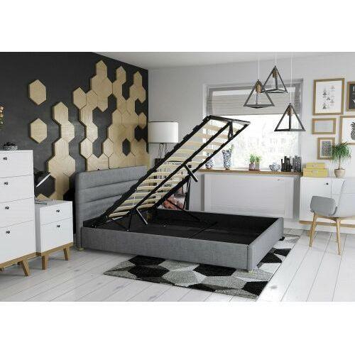 Łóżko 140x200 tapicerowane monza + pojemnik + materac sawana szare marki Big meble