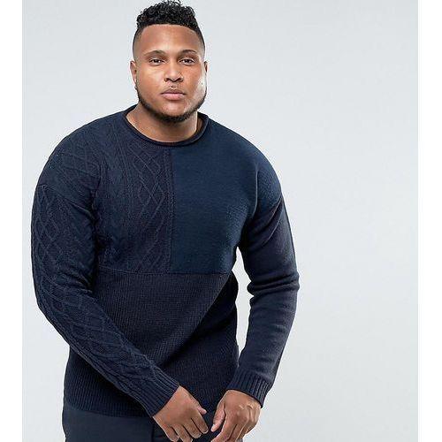 Bellfield PLUS Jumper With Mixed Textures - Navy