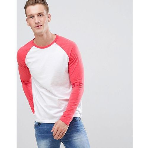 raglan long sleeve t-shirt in red and white - white, Burton menswear, XS-XL