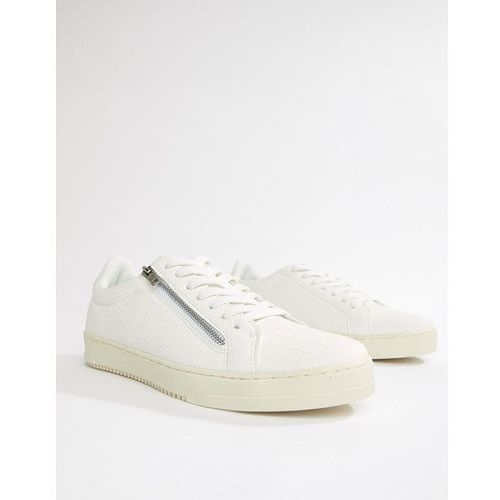 River Island trainers with zip detail in white croc - White, kolor biały