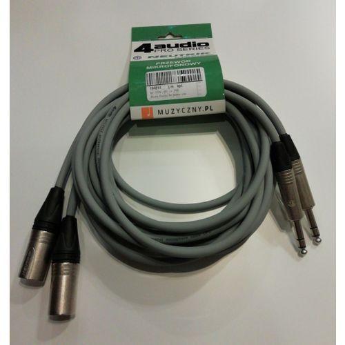 4Audio Monitor Set zestaw przewodów do monitorów studyjnych 2 x 3m XLRm TRS (szary) Neutrik