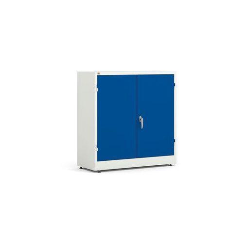 Biała szafa metalowa z niebieskimi drzwiami 2 półki