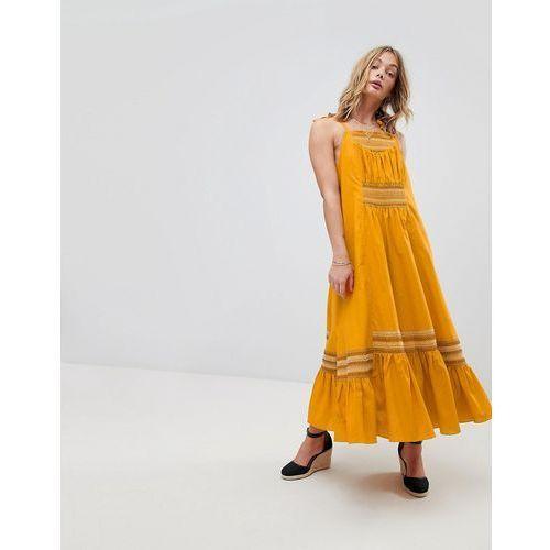 Free People Another Love Smocked Midi Dress - Yellow, w 4 rozmiarach