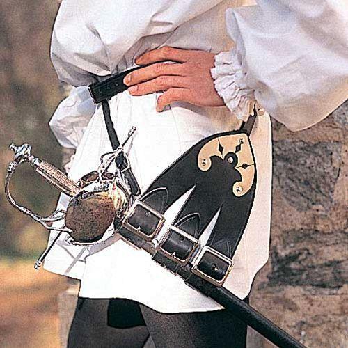 Skórzany pas z trzema uchwytami do rapierów i mieczy (ws200308) marki Płatnerze