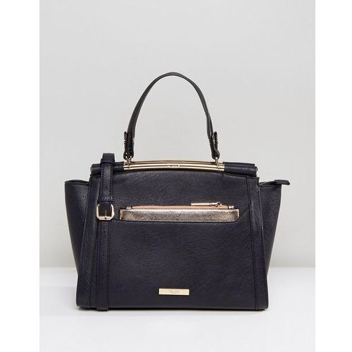 Dune diara structured tote bag with rose gold hardware - navy