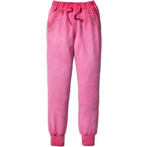 Spodnie dresowe z efektem wytarcia bonprix różowy