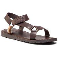 Sandały - strappy leather sandal fm0fm02119 coffee bean 212 marki Tommy hilfiger