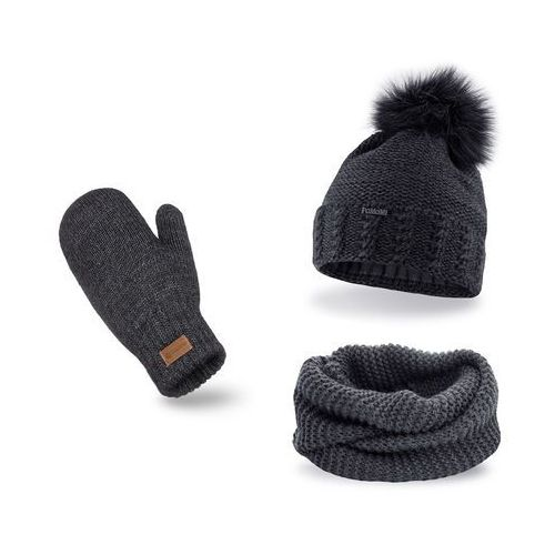 Komplet , czapka i komin - ciemnoszary - ciemnoszary marki Pamami