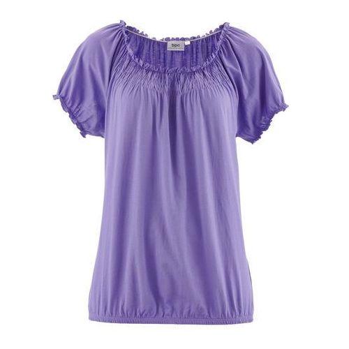 T-shirt z gumką, krótki rękaw jasny lila marki Bonprix