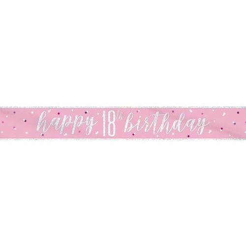 Baner Happy Birthday różowy na 18 urodziny - 274 cm - 1 szt. (0011179834914)