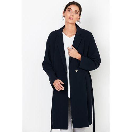 Granatowy płaszcz z paskiem - Patrizia Aryton, 1 rozmiar