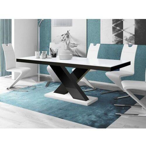Stół rozkładany xenon 160-208 biało-czarny połysk marki Hubertus