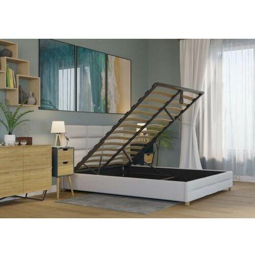 Big meble Łóżko 140x200 tapicerowane bergamo + pojemnik + materac ekoskóra białe