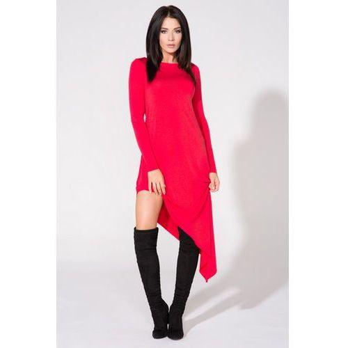 Tessita Czerwona sukienka asymetryczna dzianinowa z długim rękawem