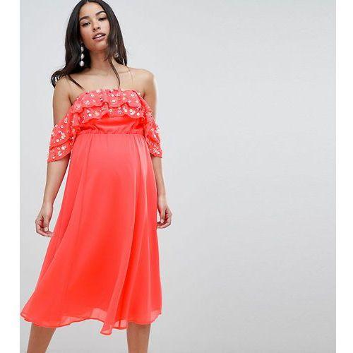 Asos design maternity bardot midi dress with embellished frill top - pink marki Asos maternity