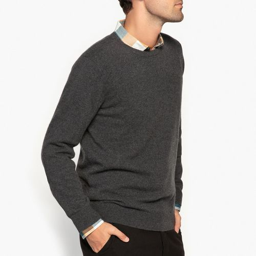 Sweter z okrągłym dekoltem, kaszmirowy, kaszmir