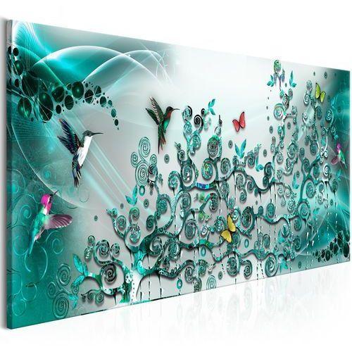 Artgeist Obraz - taniec kolibrów (1-częściowy) turkusowy wąski