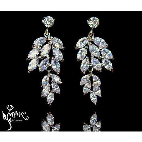Kol805/2 kolczyki ślubne długie z cyrkoniami łezki marki Mak-biżuteria