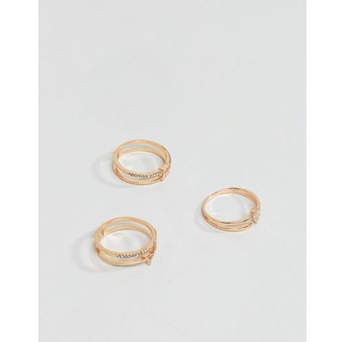 gold stacking rings with glass stones - gold marki Aldo