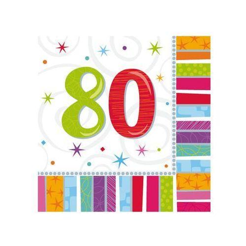 Amscan Serwetki urodzinowe na osiemdziesiąte urodziny - 80tka - 33 x 33 cm - 16 szt. (0048419712534)