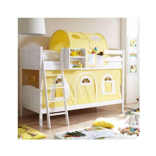 TICAA Łóżko piętrowe Erni Country Dworek białe drewno sosnowe kolor żółto-biały