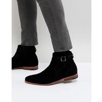 chelsea boots in black suede with strap detail and natural sole - black marki Asos