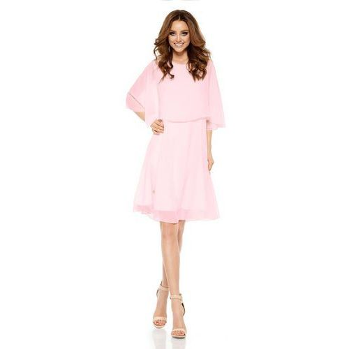 Lemoniade Różowa elegancka wieczorowa sukienka z narzutką